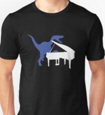 Camiseta ajustada Velociraptor tocando el piano