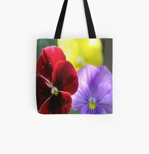 Colors of the Pansy Flowers All Over Print Tote Bag