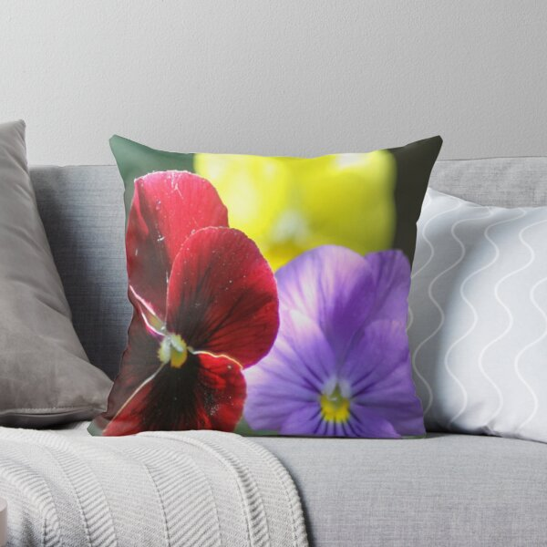 Colors of the Pansy Flowers Throw Pillow