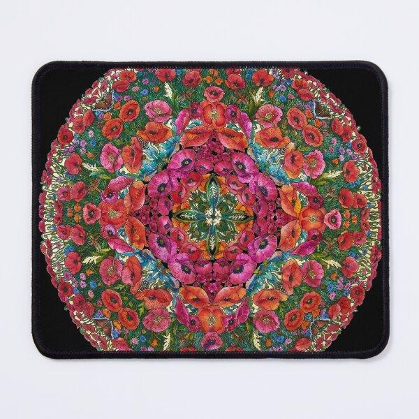 Poppies and Cornflowers Mandala Mouse Pad