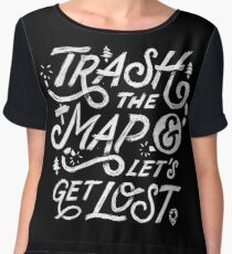 Trash the Map & Let's Get Lost - Travel Adventure Design (white) Women's Chiffon Top