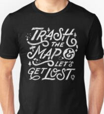 Trash the Map & Let's Get Lost - Travel Adventure Design (white) Slim Fit T-Shirt