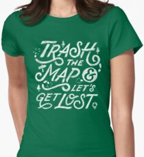 Trash the Map & Let's Get Lost - Travel Adventure Design (white) Womens Fitted T-Shirt