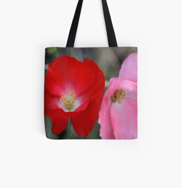 Poppy Flower Color All Over Print Tote Bag