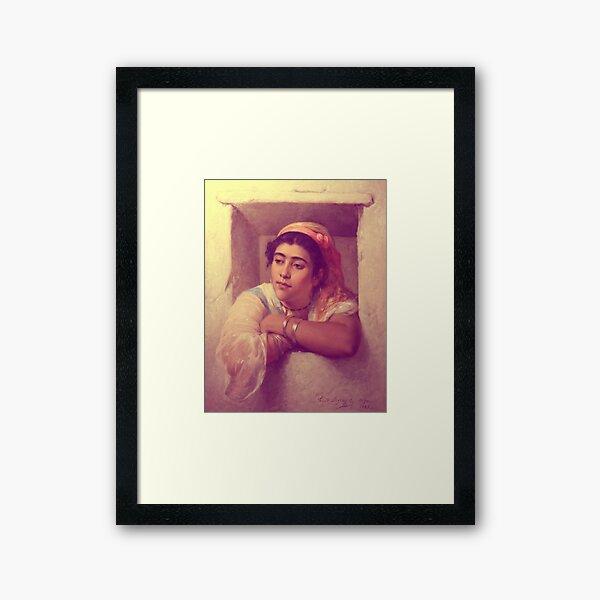 Bohemian Sticker Hijab Algerian Girl in Window Framed Art Print