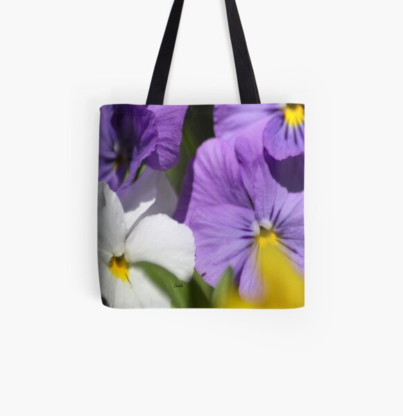 Pansy Flower Blooms All Over Print Tote Bag