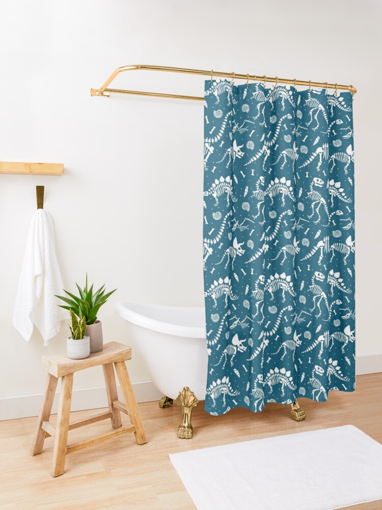 Alternate view of Dinosaur Fossils in Blue Shower Curtain