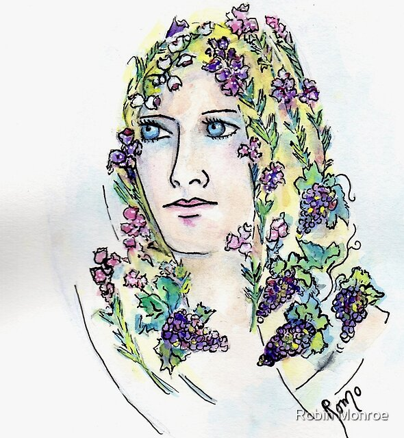 Fair Maiden with Heather in her Hair -   by Robin Monroe