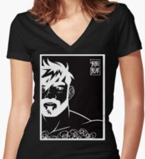 ADAM LIKES BLACK AND WHITE Women's Fitted V-Neck T-Shirt