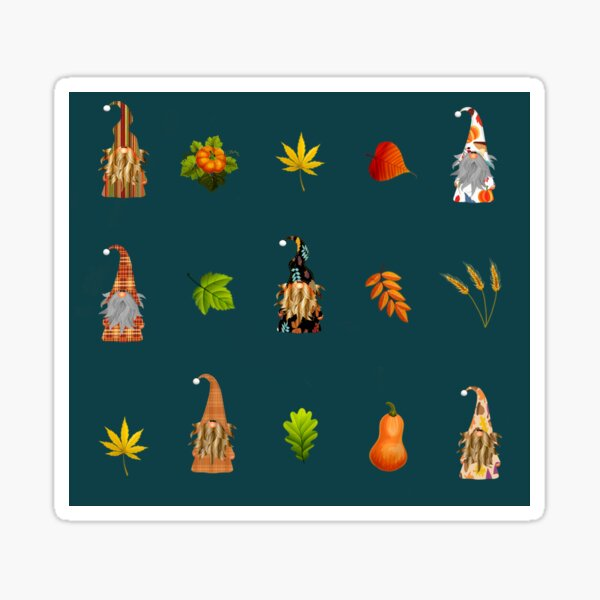 Autumn gnomes pattern  Sticker