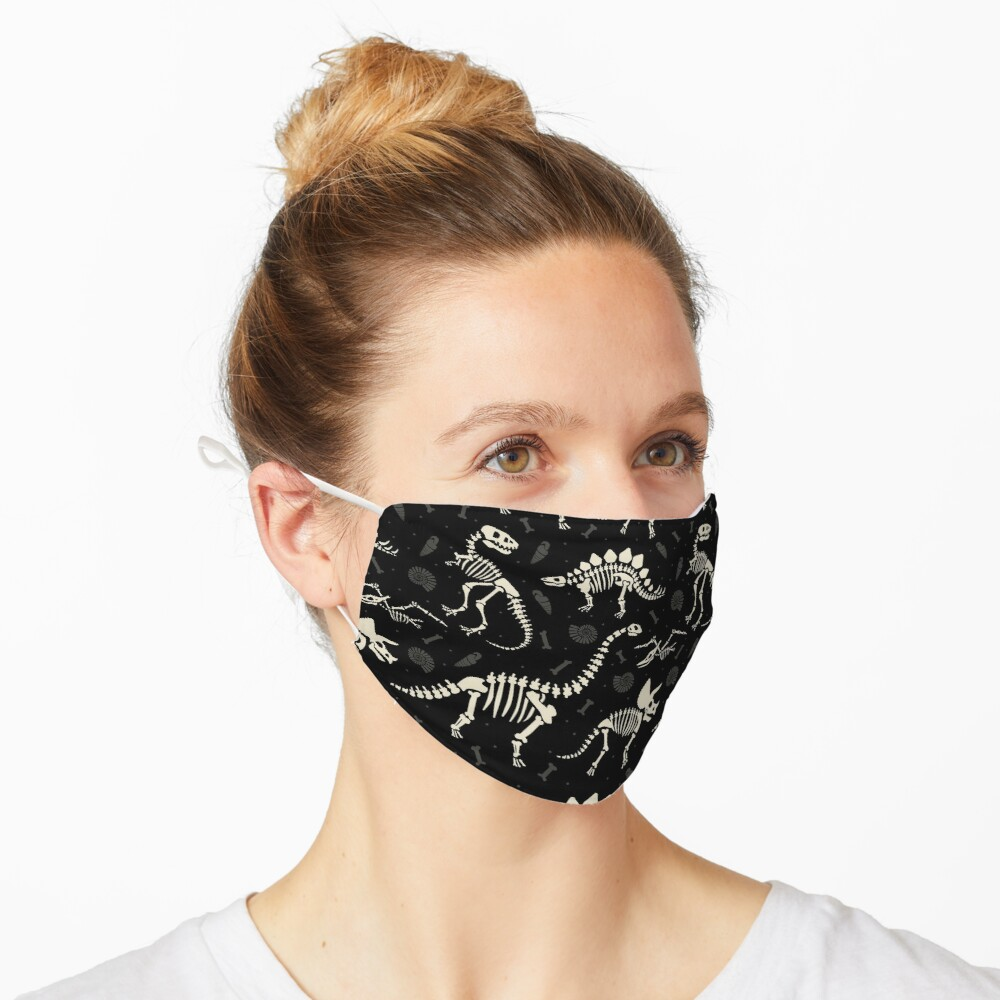 Masque «Fossiles de dinosaures en noir»