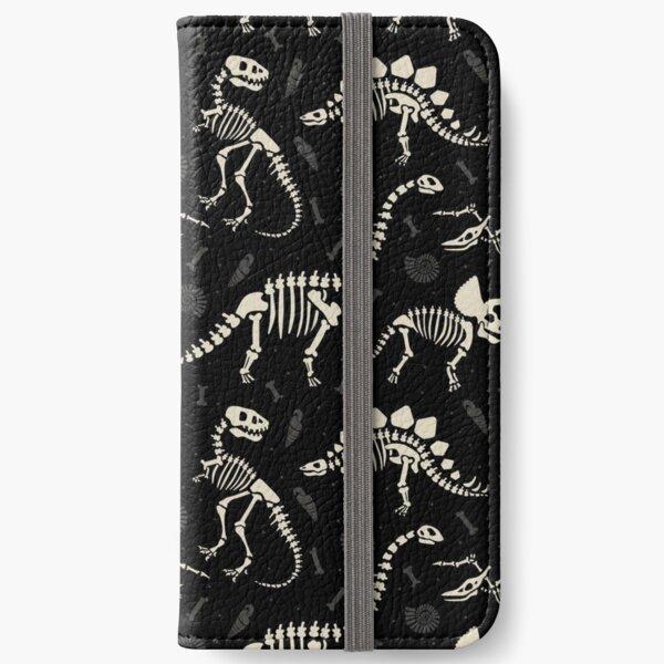 Dinosaurierfossilien in Schwarz iPhone Flip-Case