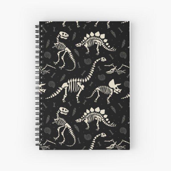 Dinosaur Fossils in Black Spiral Notebook