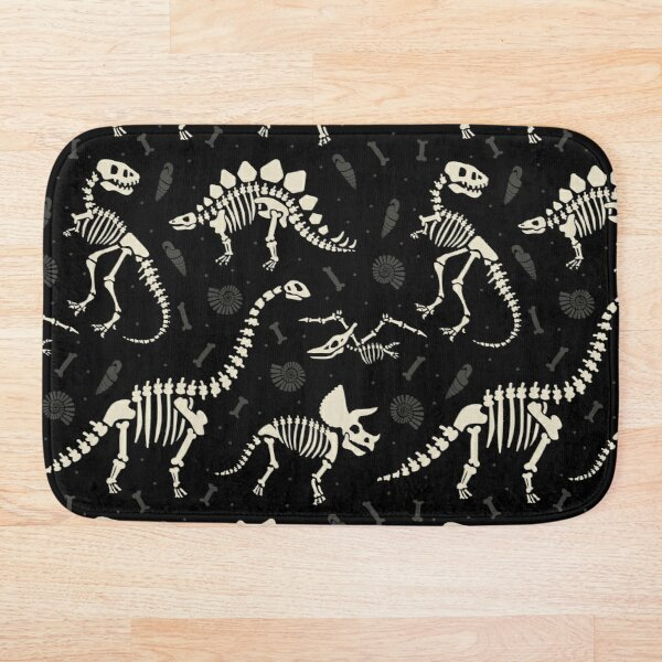 Dinosaur Fossils in Black Bath Mat