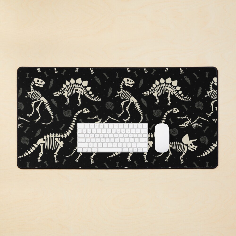 Dinosaur Fossils in Black Mouse Pad