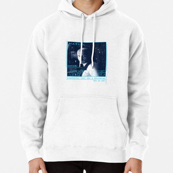 The Matrix Cypher Portrait Glitch Everything Has A Beginning Pullover Hoodie