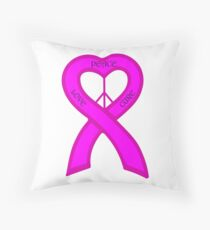 Peace Love Cure Breast Cancer Pink Ribbon Throw Pillow