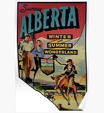 Alberta AB Canada Vintage Travel Decal Poster
