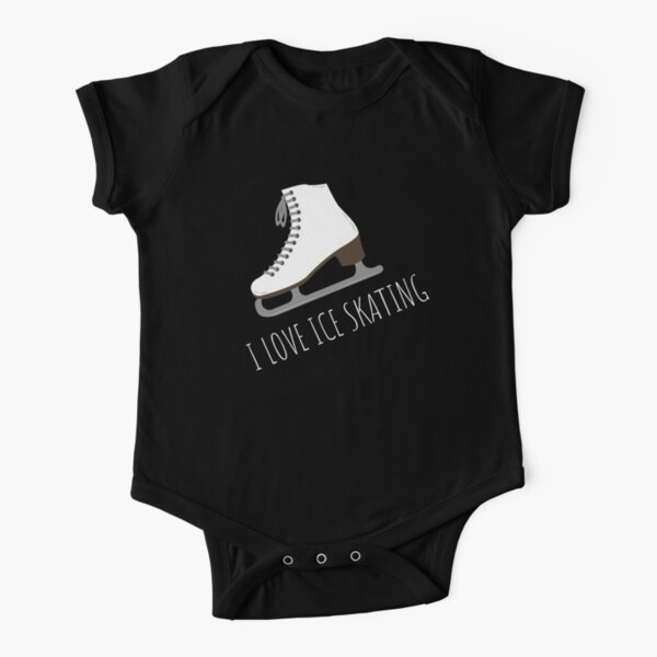 I love Ice Skating T-shirts and Apparel - Blue and Black Short Sleeve Baby One-Piece