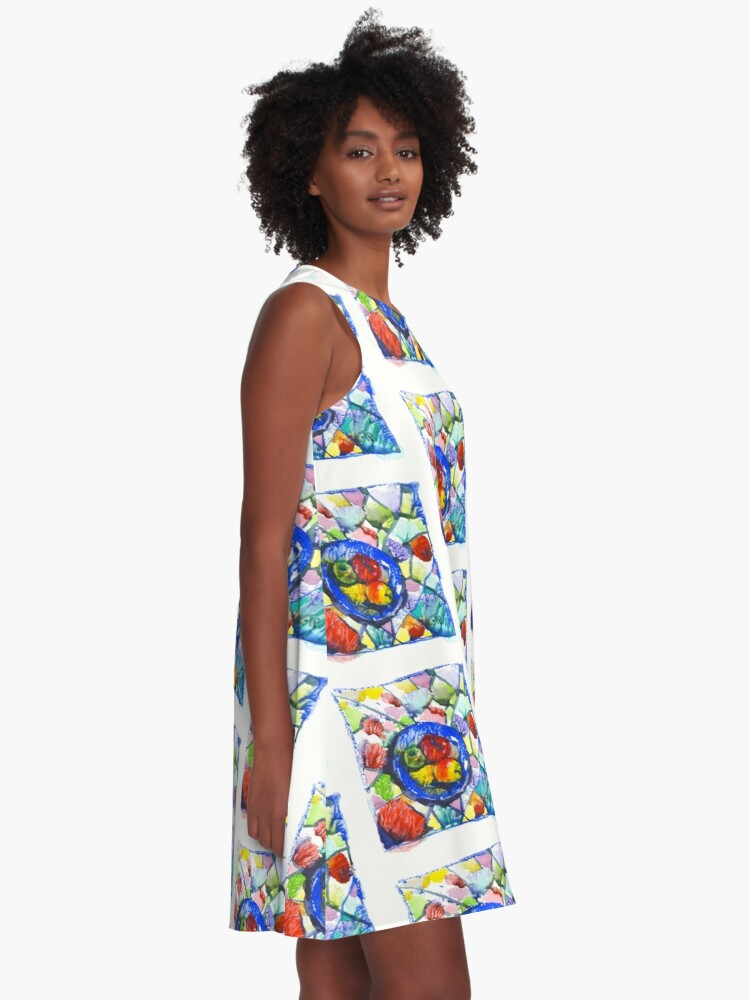 Alternate view of Apples. Watercolor. A-Line Dress