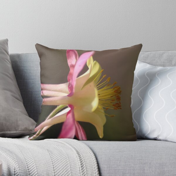Classic Columbine Flower Bloom Throw Pillow