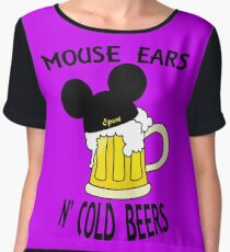 Mouse Ears N' Cold Beers (Epcot version) Women's Chiffon Top