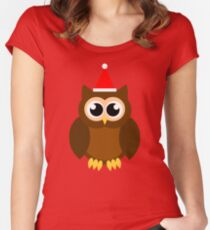 A Very Hooty Christmas (no text) Women's Fitted Scoop T-Shirt