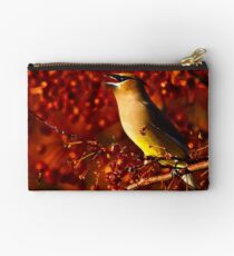 Cedar Waxwing and Berries Studio Pouch