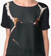 Girl Holding Deer Antlers with String Lights Women's Chiffon Top
