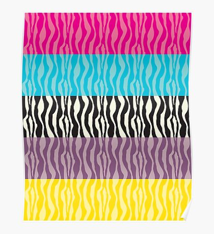 Pastel Zebra Patterns Poster