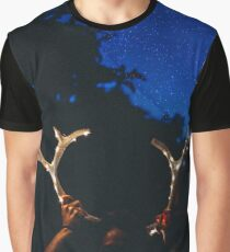 Girl Holding Deer Antlers with String Lights Graphic T-Shirt