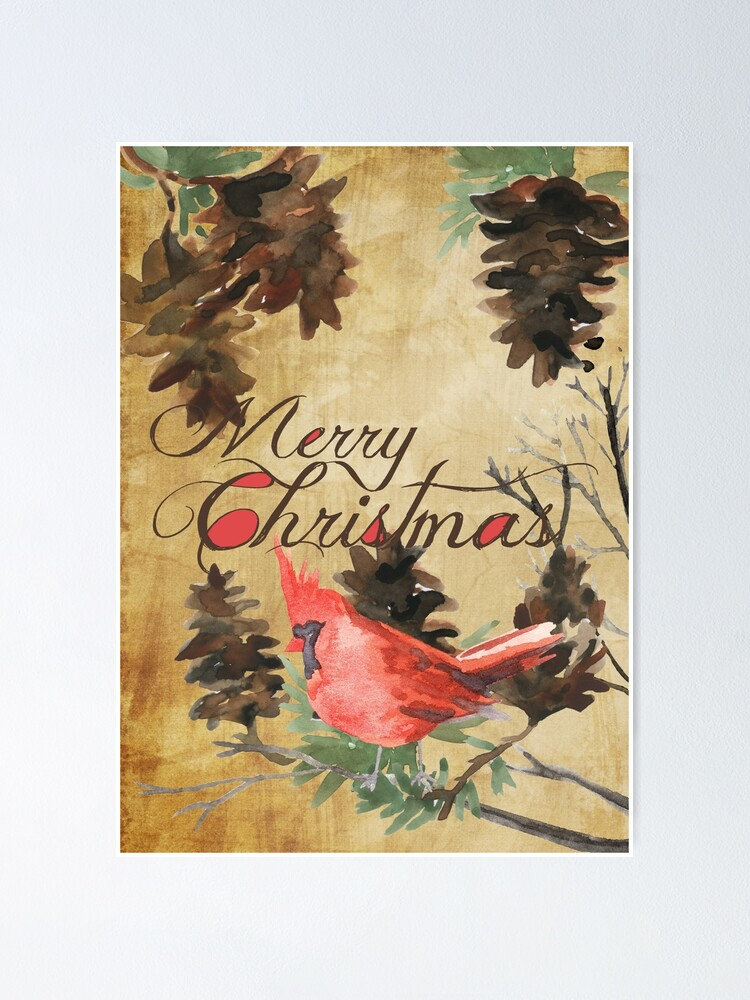 Merry Christmas Cardinal And Pine Cones Poster By Peacockcards Redbubble