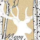 White Deer Birch Trees Christmas by peacockcards