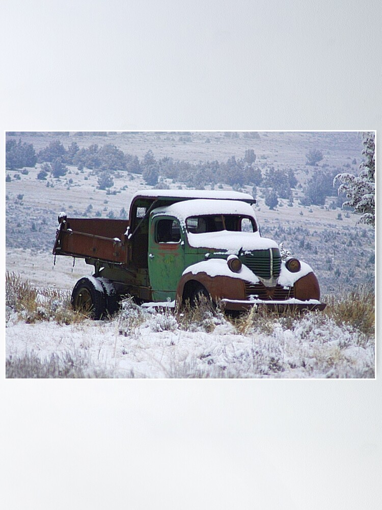 Alternate view of Vintage Dump Truck in the Snow Poster