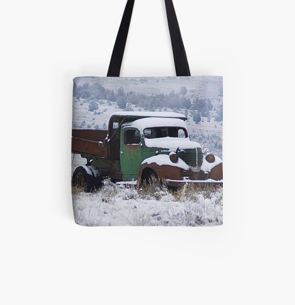 Vintage Dump Truck in the Snow All Over Print Tote Bag