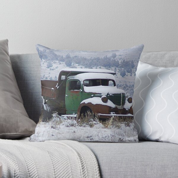 Vintage Dump Truck in the Snow Throw Pillow