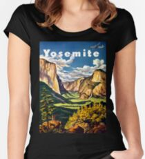 Vintage Yosemite National Park California Travel Fitted Scoop T-Shirt
