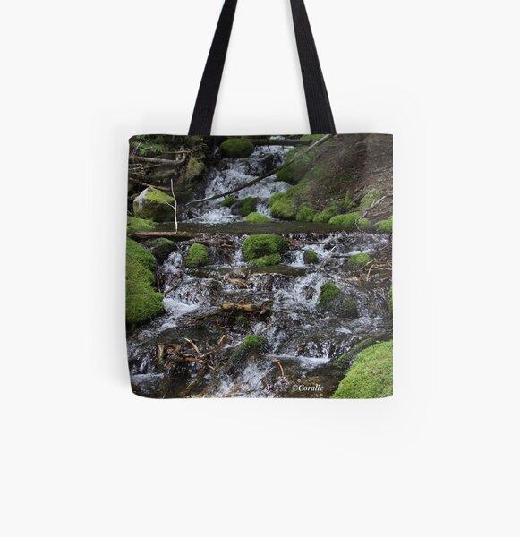 Falling Cascades of the Cascade Mountains Oregon All Over Print Tote Bag