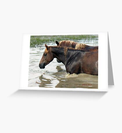 """""""Horses with Attitude no. 7, 'Race Ya Across the Pond, Joe. Loser Buys a Round!'""""... prints and products Greeting Card"""