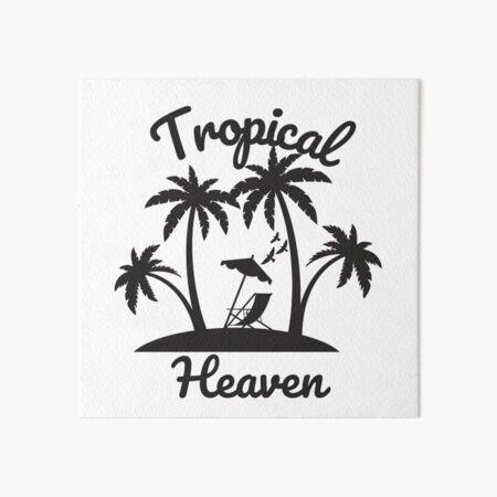 Tropical Vacation Palm Tree Coconut Retro Sun Tropical Beaches Art Board Print