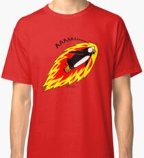 Flaming Flying Screaming Penguin Classic T-Shirt