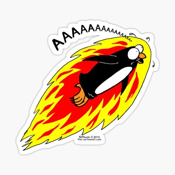 Flaming Flying Screaming Penguin Sticker