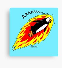 Flaming Flying Screaming Penguin Canvas Print