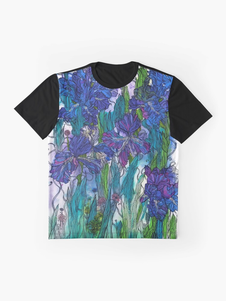 Alternate view of Blue Irises Graphic T-Shirt