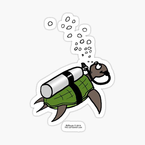 SCUBA Turtle Sticker