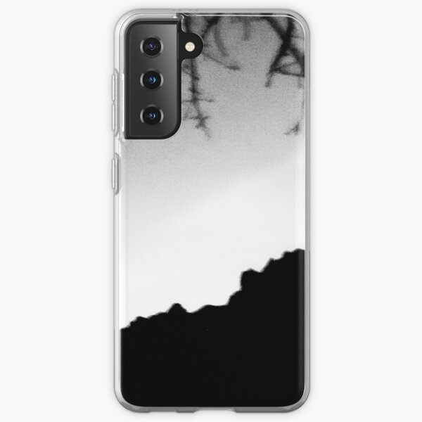 Black and white scenic landscape with tree branches clear bright sky and mountains Samsung Galaxy Soft Case