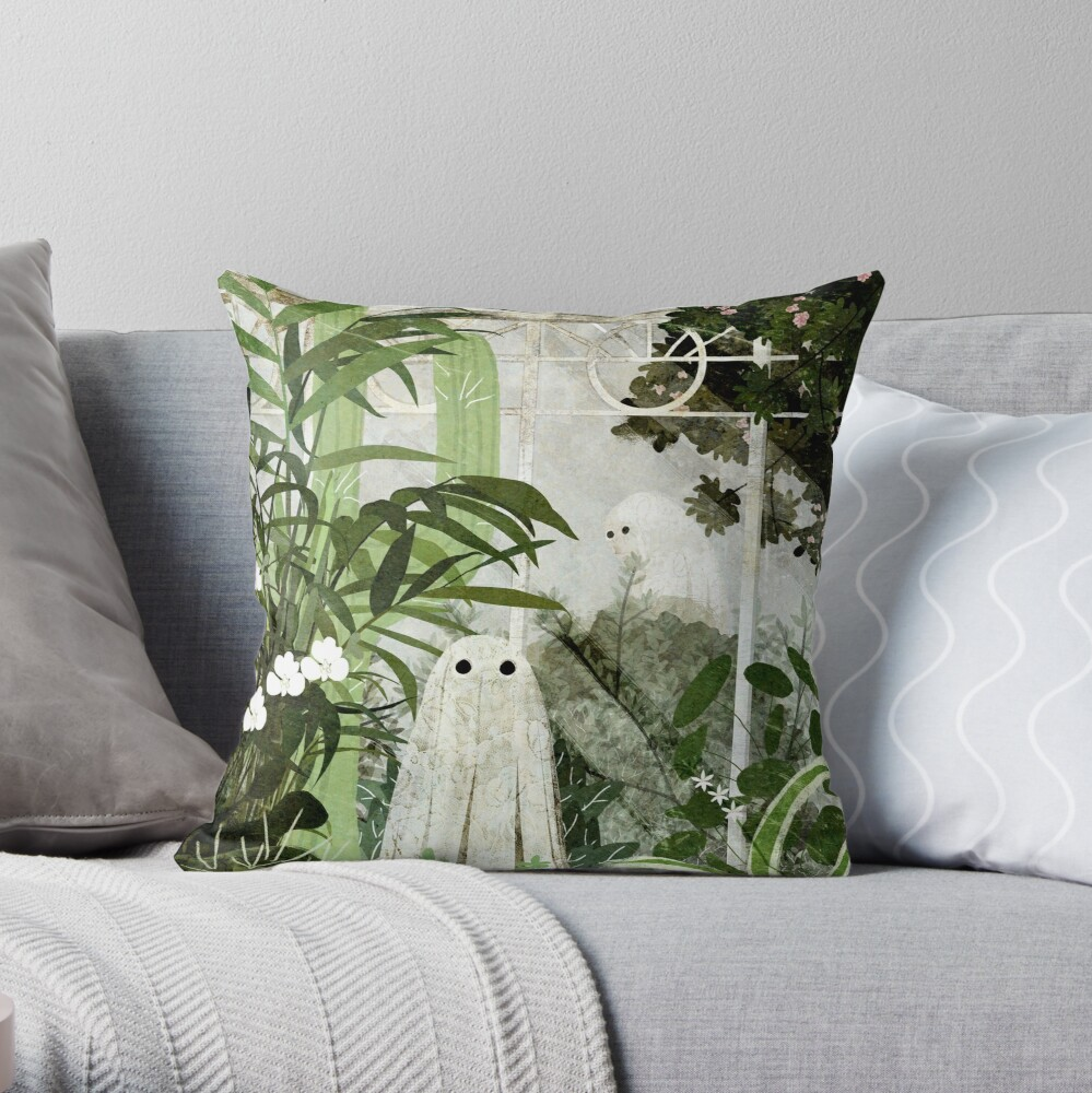 There's A Ghost in the Greenhouse Again Throw Pillow