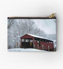 Snow Covered Covered Bridge Studio Pouch
