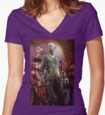 Czech Republic. Prague. Bruce Willis in the Shop Window for Sale. Women's Fitted V-Neck T-Shirt