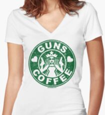 I Love Guns and Coffee! Not the Starbucks logo. Women's Fitted V-Neck T-Shirt